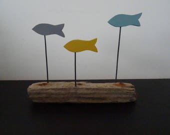 Decorative 3 Driftwood grey, mustard and green-blue fish