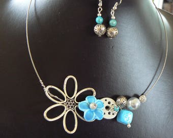 Turquoise Silver and ceramic flower ornament