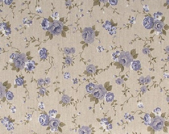 Cotton printed blue flowers - coupon 30 x 90 cm - Ref 13020108