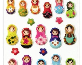 "Stickers Cooky relief ""Russian dolls"" x 26 - MAILDOR - Ref 560406"