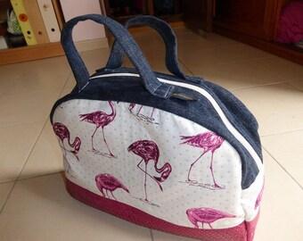 pink flamingos bowling bag, denim and faux