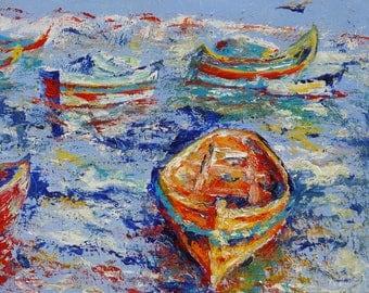 Voyage marin - tableau peinture acrylique sur toile - port de l'ïle de Malte - paysage pécheurs - décoration marine - cadeau bateau coloré