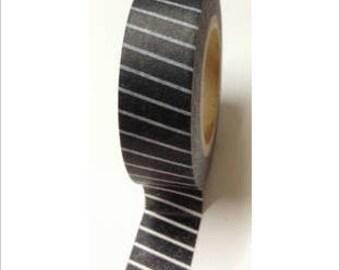 Washi tape (washi) - black and white bias stripe