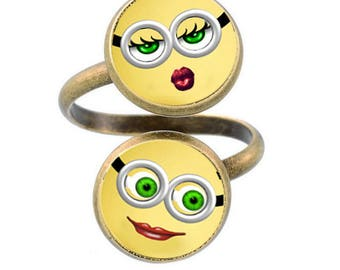 A pretty ring with 2 glass cabochons 12 mm Emoticon