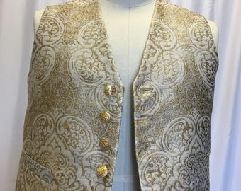 3XL Gold and White Brocade Vest