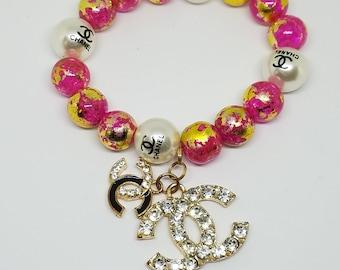 CC Charm Beaded Bracelet