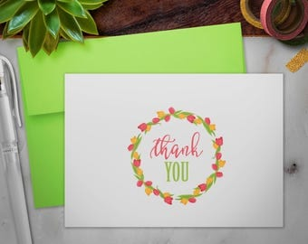 Stationery Folded Thank You Cards Set with Envelopes | Floral Tulips Wreath
