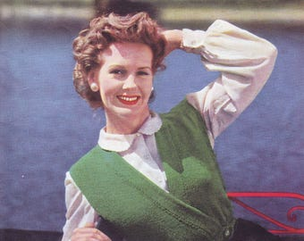 Ladies hug-me-tight ~ waistcoat 4 ply knitting yarn  ~ fits 34 - 36 - 38 inches bust measurement.