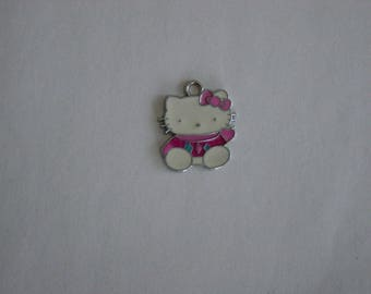 Metal enameled Kitty charm