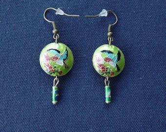 Bird of paradise green earrings