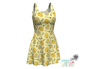 Beehive Dress - Yellow womens' skater dress with bees, hives, and honey pots - US ladies' sizes XS, S, M, L, and XL