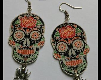 Skulls skulls and spiders Halloween earrings