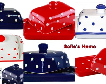 Hand Painted Ceramic Butter Dish With Lid white and red hand painted polka dot pattern