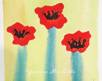 Poppies No. 017 - Original Watercolor Painting, Floral, Art, Wall Decor