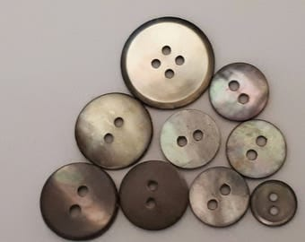 set of 9 gray mother of Pearl buttons ideal sewing or scrapbooking 9-11-12-15-18 mm
