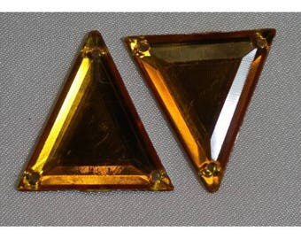 rhinestone acrylic triangle - 26 mm - orange