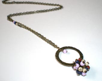 Summer multicolor beads cluster necklace