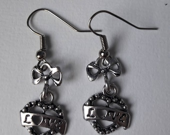 Heart bow earrings