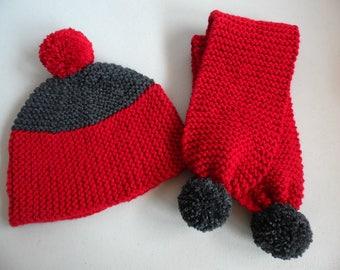 Destock Hat - scarf-06-14 months red-gray