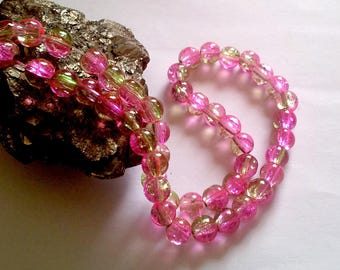 Wholesale lot of 100 two-tone, pink and green Crackle glass beads, 08mm