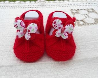 Baby wool sandalette red Butterfly shape