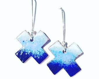 Blue and white enamel earrings -- ombre cross dangling earrings with silver hooks