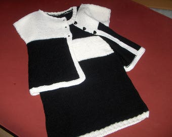 with his vest for summer dress, size 6, white and black acrylic