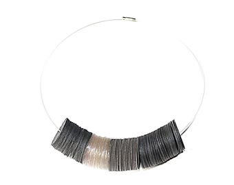 Necklace black recycled plastic
