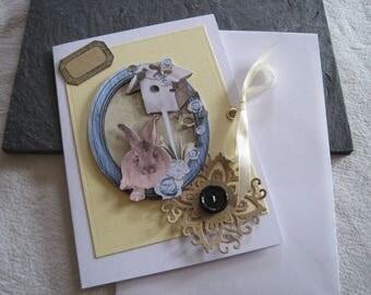Card, envelope, nature, Easter, Bunny, birdhouse, kraft tag, Ribbon, 3D