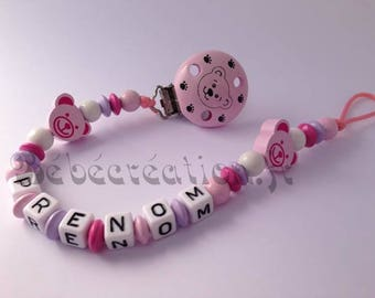 Personalized pacifier clip pink Teddy bear