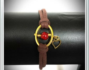 Brown suede and Red Bead Bracelet