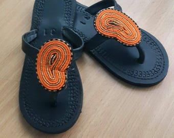 Maasai leather sandal - Stylish masai sandal - Beaded Sandal - women's sandal - Orange beaded sandal