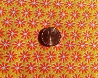 Fabric cotton printed small flowers Orange & yellow (sold in 0.50 m)