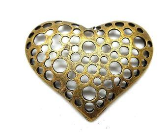 Heart hole effect bronze charm