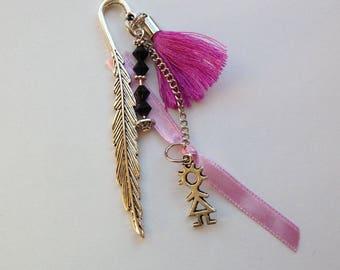 Stylized leaf, Ribbon and fuschia thread tassel, bookmarks cabochon