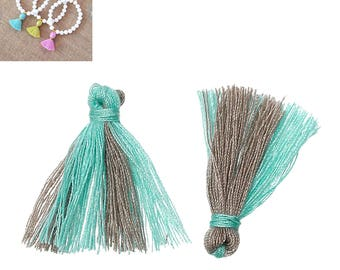 20 charms 25mm - blue/Brown-SC64872 Polyester fringe tassels-