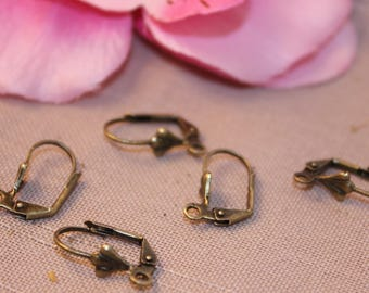 Set of 20 pairs of earrings brackets Bronze 17x10mm