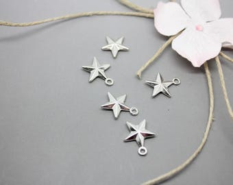 10 pendants, charms Silver Star Silver 16x13mm - SC56492-