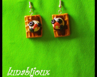 polymer clay jewelry myrtile chocolate waffle earrings Strawberry whipped cream