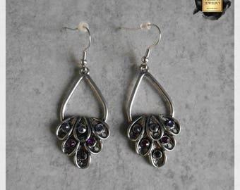 Shades of purple crystal earrings