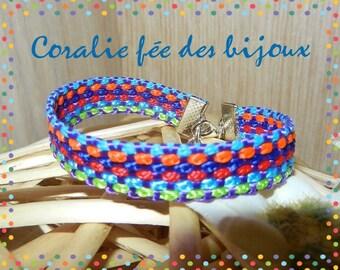 braided rope 10mm blue multi color bracelet