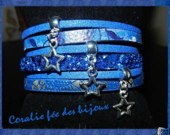 Navy blue leather and suede tone Cuff Bracelet