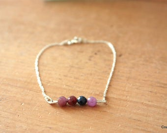 Bracelet beads of Ruby and Burgundy sapphires, 925 Silver chain