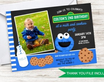 Cookie Monster Themed Invitation Invite Digital ANY AGE Birthday 7x5 Photo Cookie Milk Inspired Kids