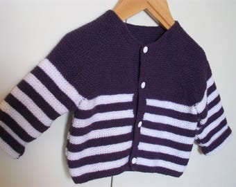 Vest coat for a baby 6 months hand knitted striped purple and white all point moussse