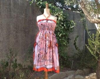 Smocked dress, one size, fabric print silk scarf