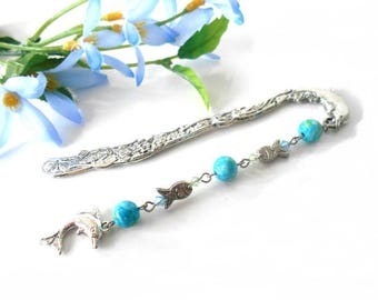 Bookmarks dolphin and fish with jades and Swarovski Crystal beads
