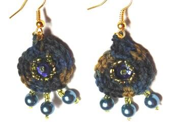 Earrings handmade satin and pearls/earrings