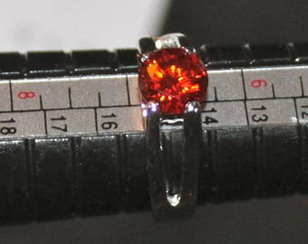 Vintage 1990's Gorgeous Sterling Silver Ring set with Faceted Blood Orange CZ's Sz 6.5 Wt 3.3g