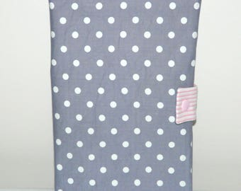 Pocket door coat and gray cloth with white polka dots and pink Pinstripe
